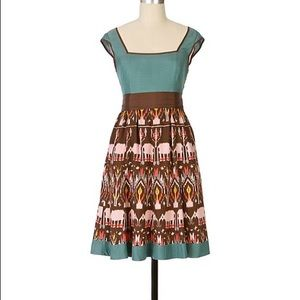 Anthropologie Diodore Elephant March Ikat Dress